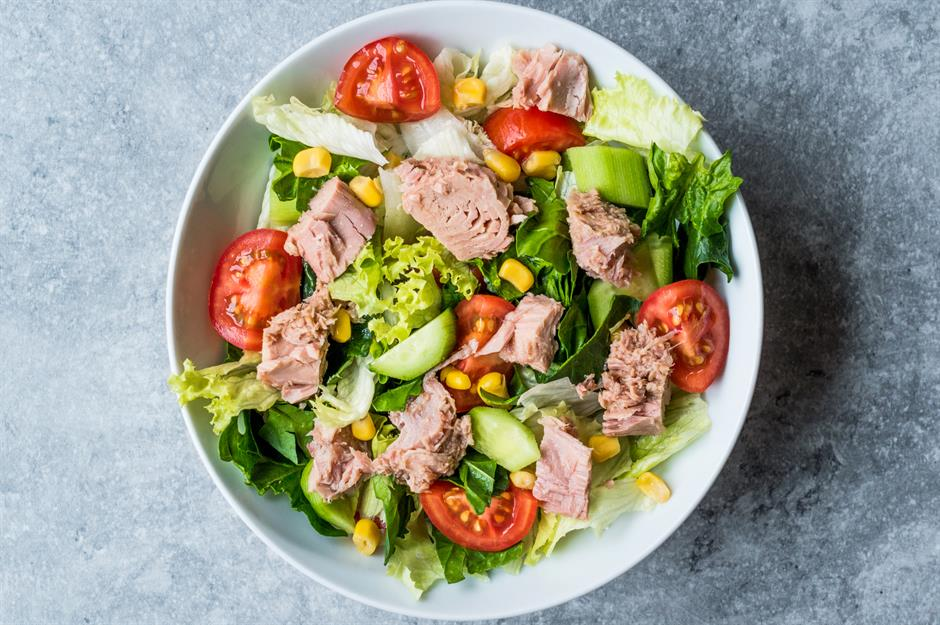 Healthy Tuna Salad with tomatoes, lettuce, cucumber and corn